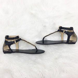 Shoe Dazzle | Black Gold Double Strap Sandals